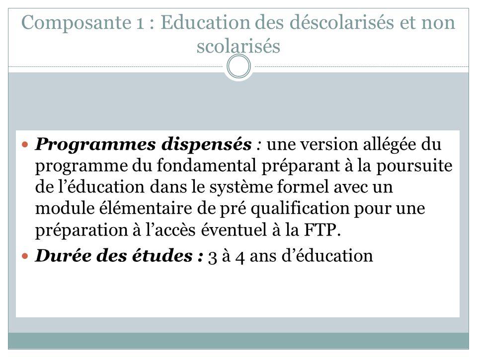 Composante 1 : Education des déscolarisés et non scolarisés Programmes dispensés : une version allégée du programme du fondamental préparant à la poursuite de léducation dans le système formel avec un module élémentaire de pré qualification pour une préparation à laccès éventuel à la FTP.