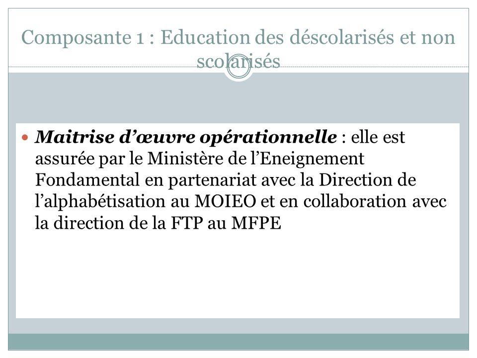 Composante 1 : Education des déscolarisés et non scolarisés Maitrise dœuvre opérationnelle : elle est assurée par le Ministère de lEneignement Fondamental en partenariat avec la Direction de lalphabétisation au MOIEO et en collaboration avec la direction de la FTP au MFPE