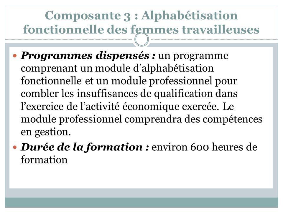 Composante 3 : Alphabétisation fonctionnelle des femmes travailleuses Programmes dispensés : un programme comprenant un module dalphabétisation fonctionnelle et un module professionnel pour combler les insuffisances de qualification dans lexercice de lactivité économique exercée.