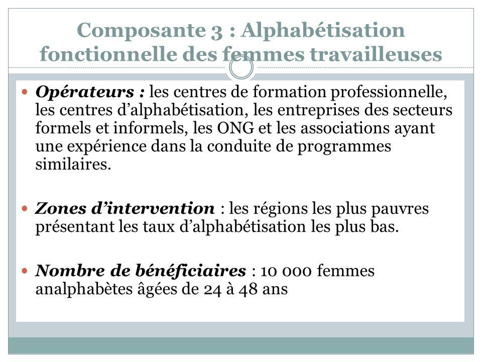 Composante 3 : Alphabétisation fonctionnelle des femmes travailleuses Opérateurs : les centres de formation professionnelle, les centres dalphabétisation, les entreprises des secteurs formels et informels, les ONG et les associations ayant une expérience dans la conduite de programmes similaires.