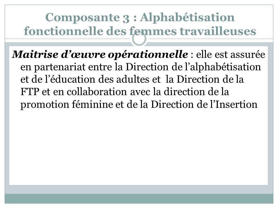Composante 3 : Alphabétisation fonctionnelle des femmes travailleuses Maitrise dœuvre opérationnelle : elle est assurée en partenariat entre la Direction de lalphabétisation et de léducation des adultes et la Direction de la FTP et en collaboration avec la direction de la promotion féminine et de la Direction de lInsertion