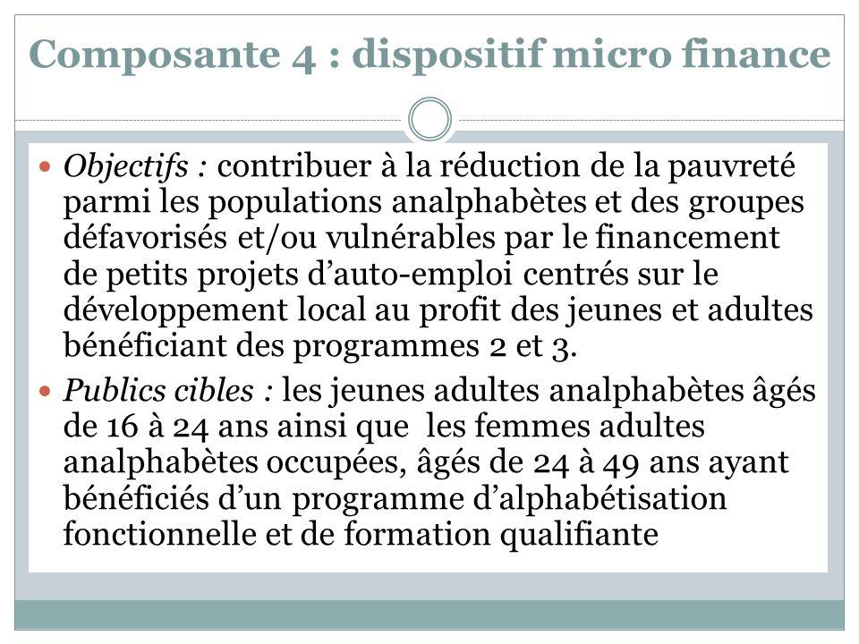 Composante 4 : dispositif micro finance Objectifs : contribuer à la réduction de la pauvreté parmi les populations analphabètes et des groupes défavorisés et/ou vulnérables par le financement de petits projets dauto-emploi centrés sur le développement local au profit des jeunes et adultes bénéficiant des programmes 2 et 3.
