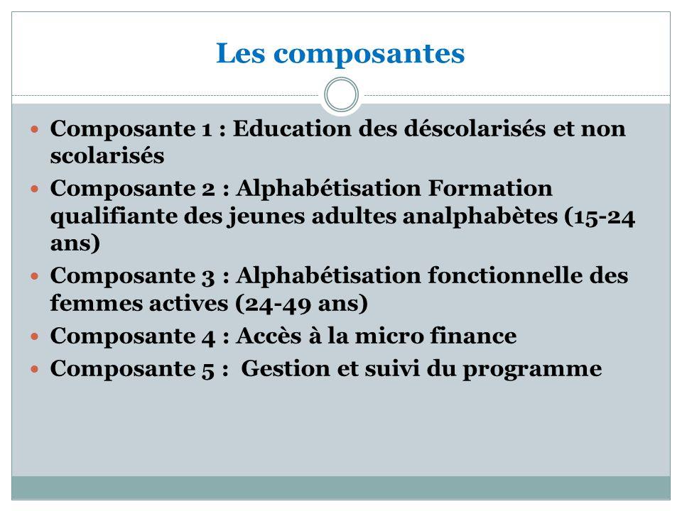 Les composantes Composante 1 : Education des déscolarisés et non scolarisés Composante 2 : Alphabétisation Formation qualifiante des jeunes adultes analphabètes (15-24 ans) Composante 3 : Alphabétisation fonctionnelle des femmes actives (24-49 ans) Composante 4 : Accès à la micro finance Composante 5 : Gestion et suivi du programme