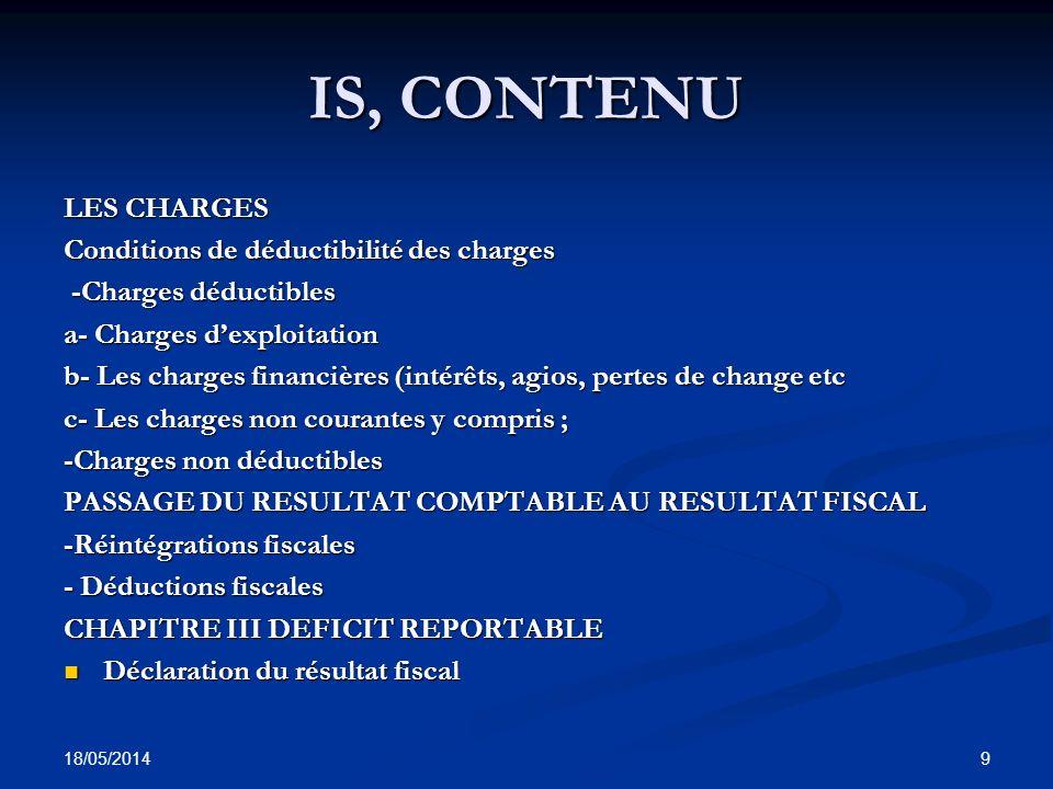 18/05/2014 30 RESULTAT FISCAL Ledit excédent doit cependant recevoir des rectifications qui sont prévues par la loi.