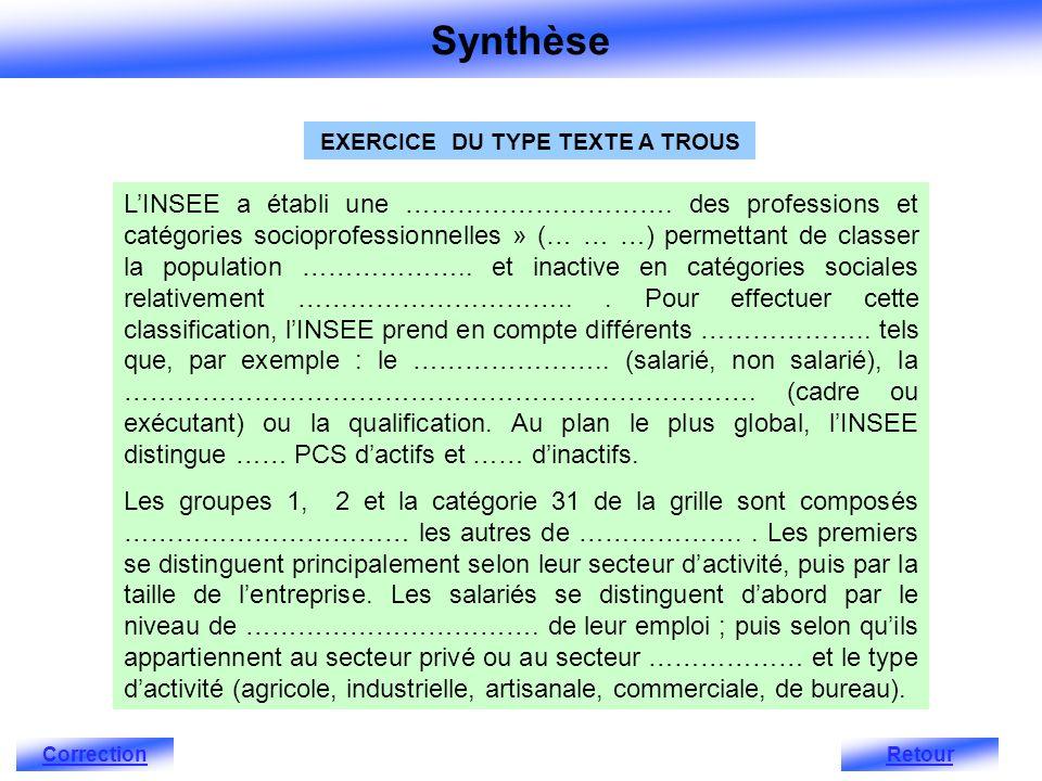 EXERCICE DU TYPE TEXTE A TROUS LINSEE a établi une ………………………….