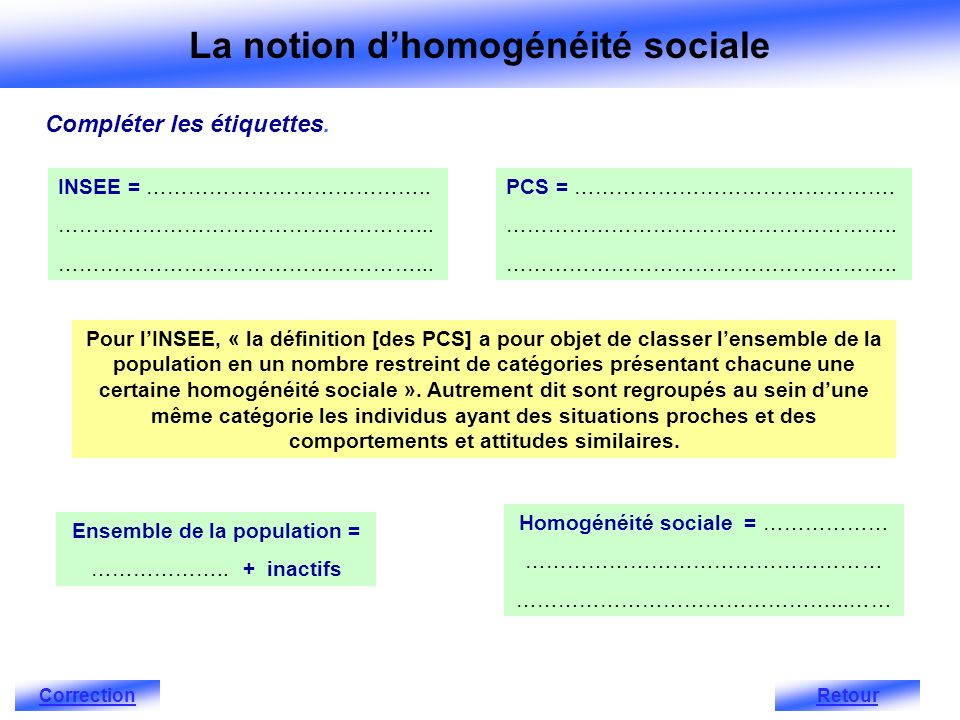 INSEE = …………………………………..……………………………………………... Ensemble de la population = ………………..