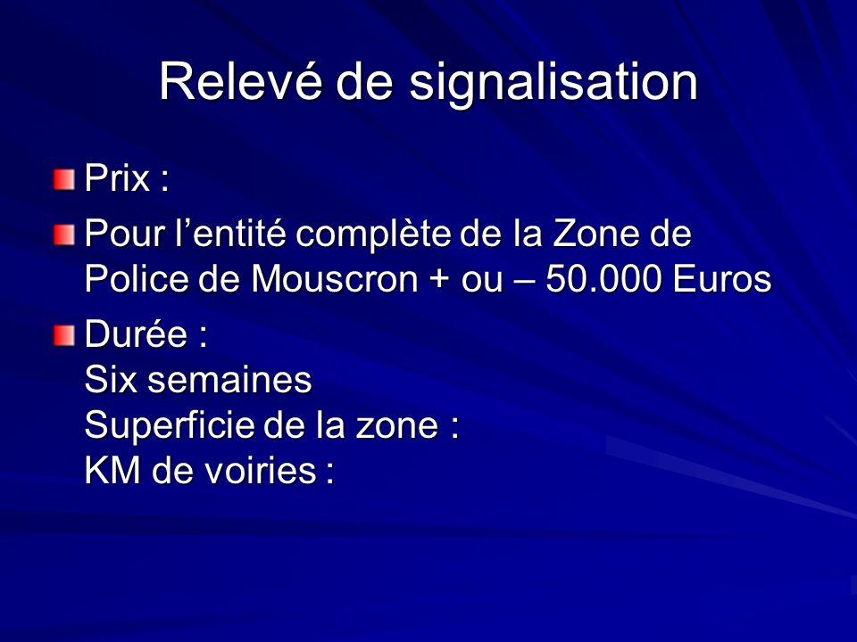 Relevé de signalisation Prix : Pour lentité complète de la Zone de Police de Mouscron + ou – 50.000 Euros Durée : Six semaines Superficie de la zone : KM de voiries :