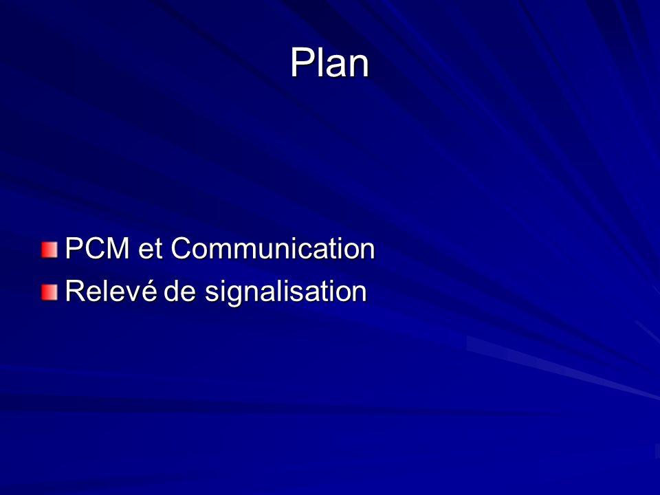Plan PCM et Communication Relevé de signalisation