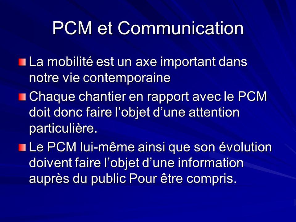 PCM et Communication La mobilité est un axe important dans notre vie contemporaine Chaque chantier en rapport avec le PCM doit donc faire lobjet dune attention particulière.