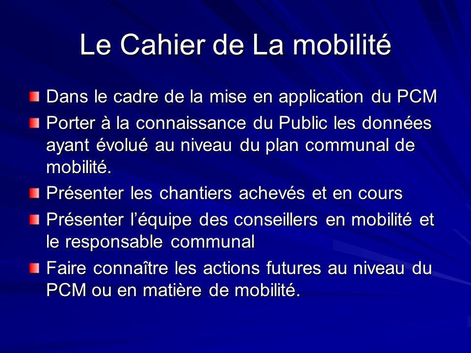 Le Cahier de La mobilité Dans le cadre de la mise en application du PCM Porter à la connaissance du Public les données ayant évolué au niveau du plan communal de mobilité.