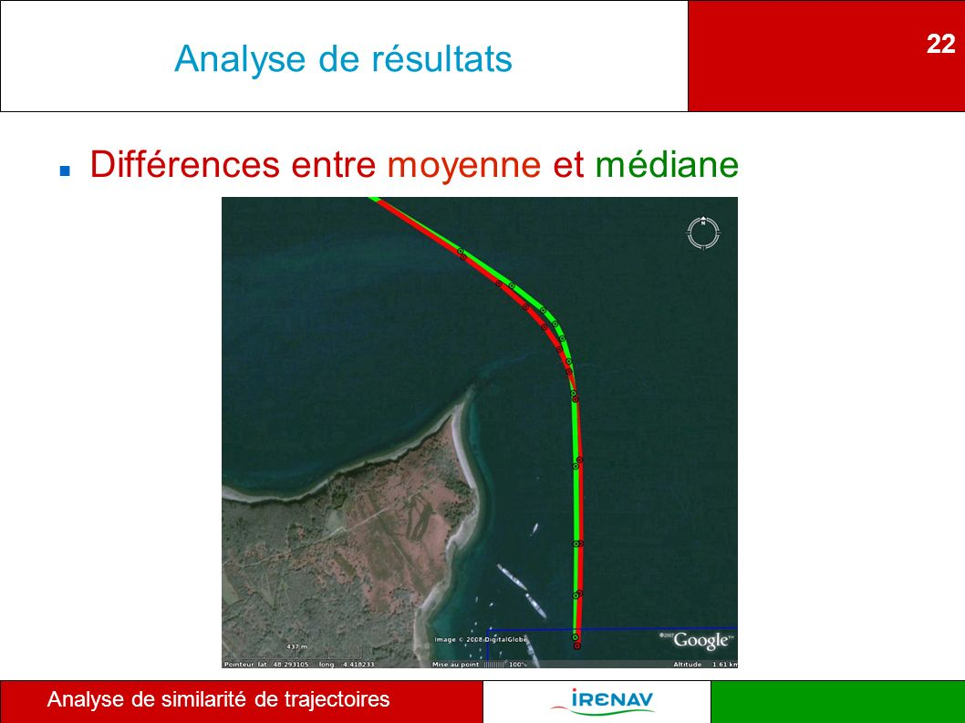 22 Analyse de similarité de trajectoires Analyse de résultats Différences entre moyenne et médiane