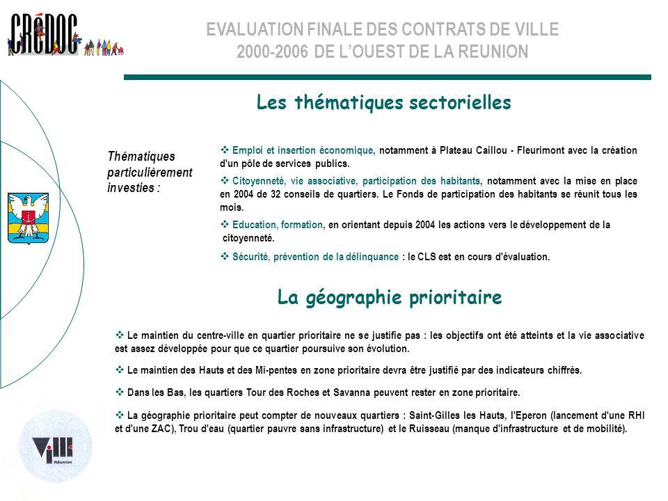 EVALUATION FINALE DES CONTRATS DE VILLE 2000-2006 DE LOUEST DE LA REUNION Les thématiques sectorielles La géographie prioritaire Le maintien du centre