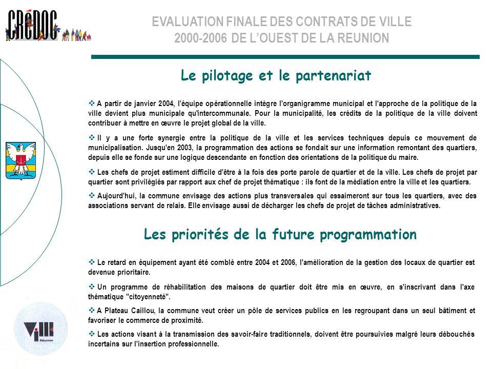 EVALUATION FINALE DES CONTRATS DE VILLE 2000-2006 DE LOUEST DE LA REUNION Le pilotage et le partenariat Les priorités de la future programmation A par