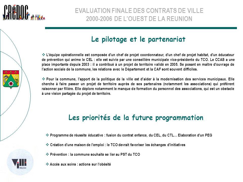 EVALUATION FINALE DES CONTRATS DE VILLE 2000-2006 DE LOUEST DE LA REUNION Le pilotage et le partenariat Les priorités de la future programmation L'équ