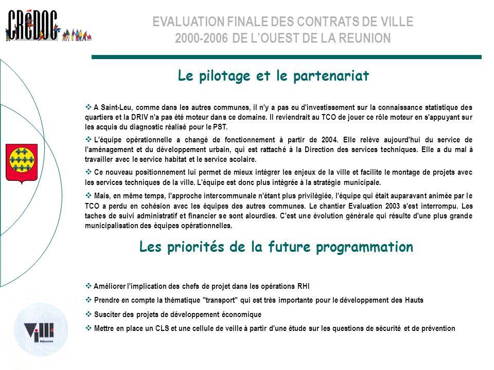 EVALUATION FINALE DES CONTRATS DE VILLE 2000-2006 DE LOUEST DE LA REUNION Le pilotage et le partenariat Les priorités de la future programmation A Sai