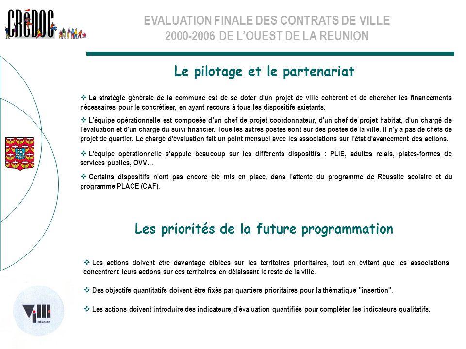 EVALUATION FINALE DES CONTRATS DE VILLE 2000-2006 DE LOUEST DE LA REUNION Le pilotage et le partenariat Les priorités de la future programmation La st