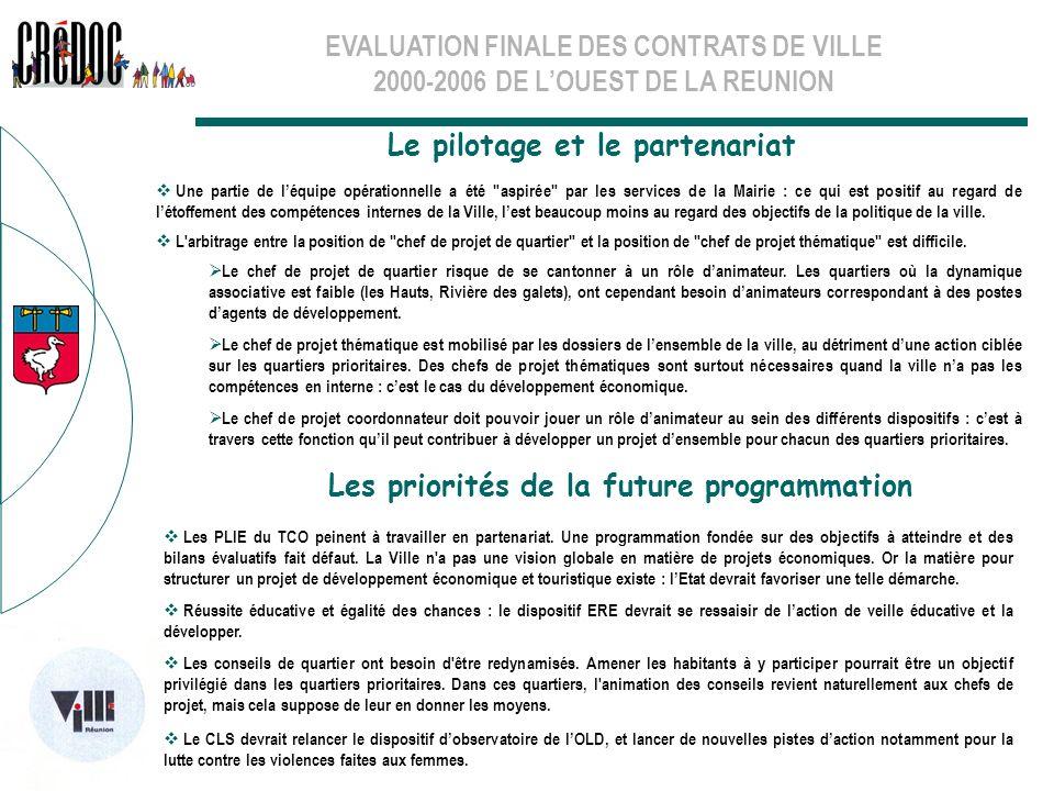 EVALUATION FINALE DES CONTRATS DE VILLE 2000-2006 DE LOUEST DE LA REUNION Le pilotage et le partenariat Les priorités de la future programmation Une p