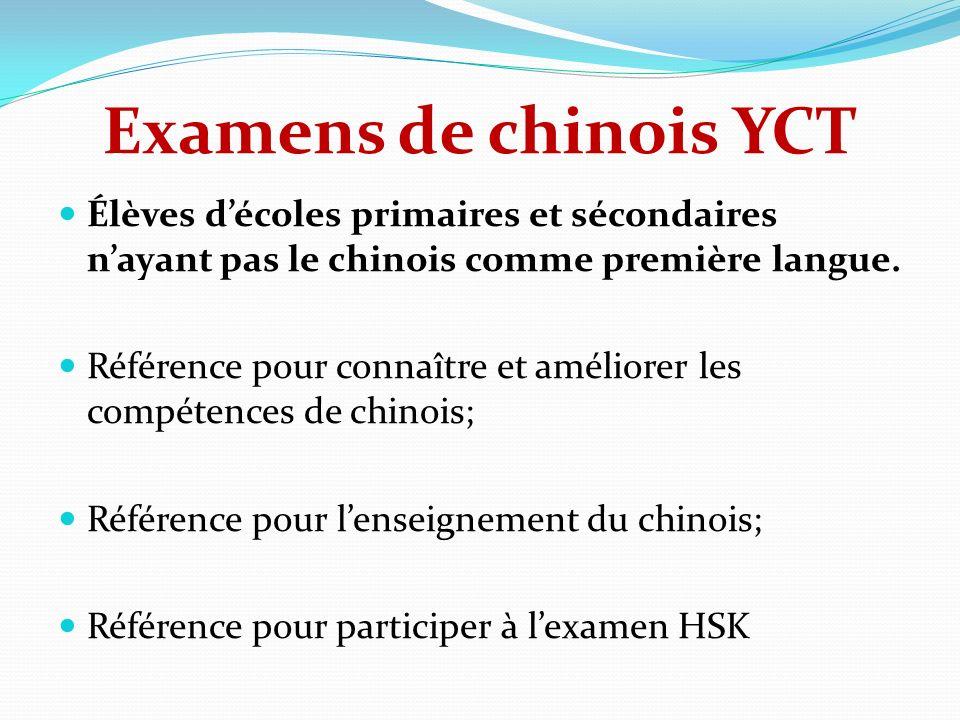 Examens de chinois YCT Élèves décoles primaires et sécondaires nayant pas le chinois comme première langue. Référence pour connaître et améliorer les