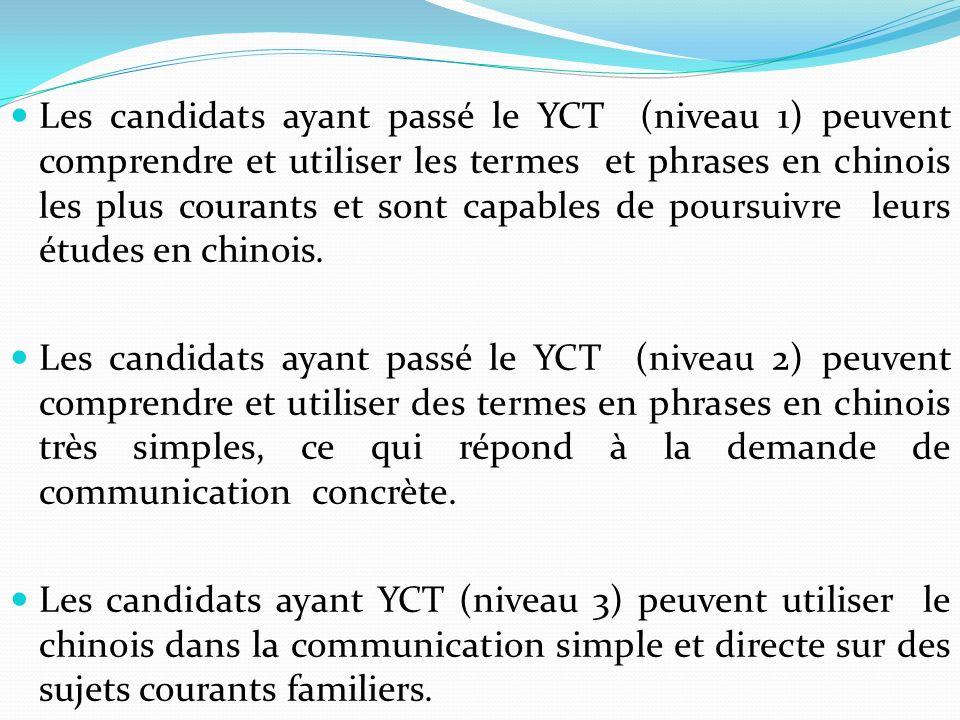 Les candidats ayant passé le YCT (niveau 1) peuvent comprendre et utiliser les termes et phrases en chinois les plus courants et sont capables de pour