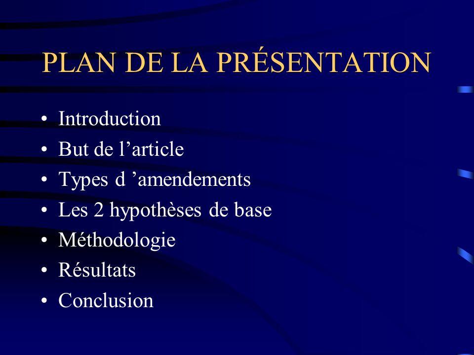 PLAN DE LA PRÉSENTATION Introduction But de larticle Types d amendements Les 2 hypothèses de base Méthodologie Résultats Conclusion