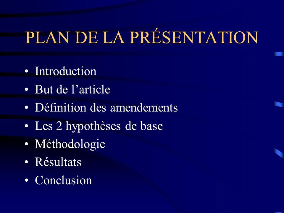 PLAN DE LA PRÉSENTATION Introduction But de larticle Définition des amendements Les 2 hypothèses de base Méthodologie Résultats Conclusion