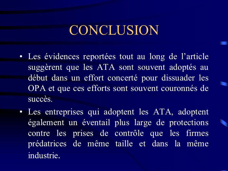 CONCLUSION Les évidences reportées tout au long de larticle suggèrent que les ATA sont souvent adoptés au début dans un effort concerté pour dissuader les OPA et que ces efforts sont souvent couronnés de succès.