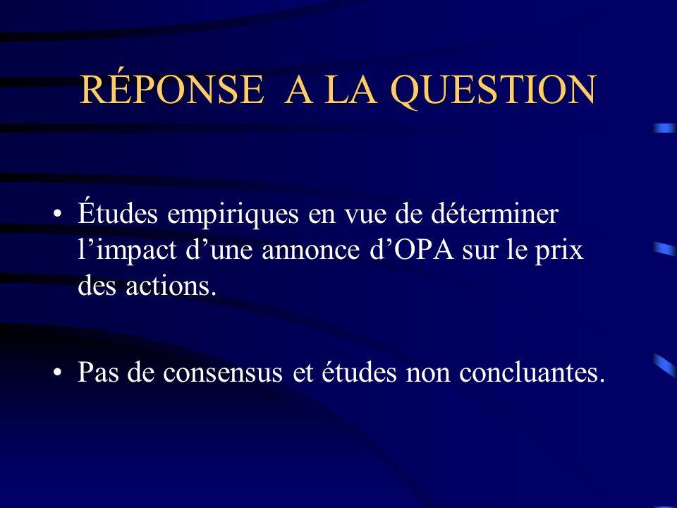RÉSULTAT S DE LA QUESTION Certaines parlent daugmentation du prix (Linn and McConnell en 1983 et McWilliams en 1990), dautres parlent de diminution (Bhagat and Jefferis en 1991 et Jarrell and Poulsen en 1987), alors que dautres pensent quil ny a pas de variations significatives dans le prix (DeAngelo and Rice en 1983).