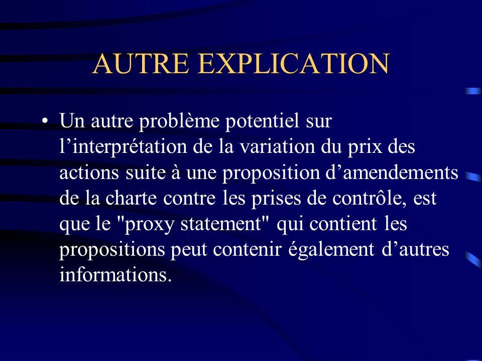 AUTRE EXPLICATION Un autre problème potentiel sur linterprétation de la variation du prix des actions suite à une proposition damendements de la charte contre les prises de contrôle, est que le proxy statement qui contient les propositions peut contenir également dautres informations.