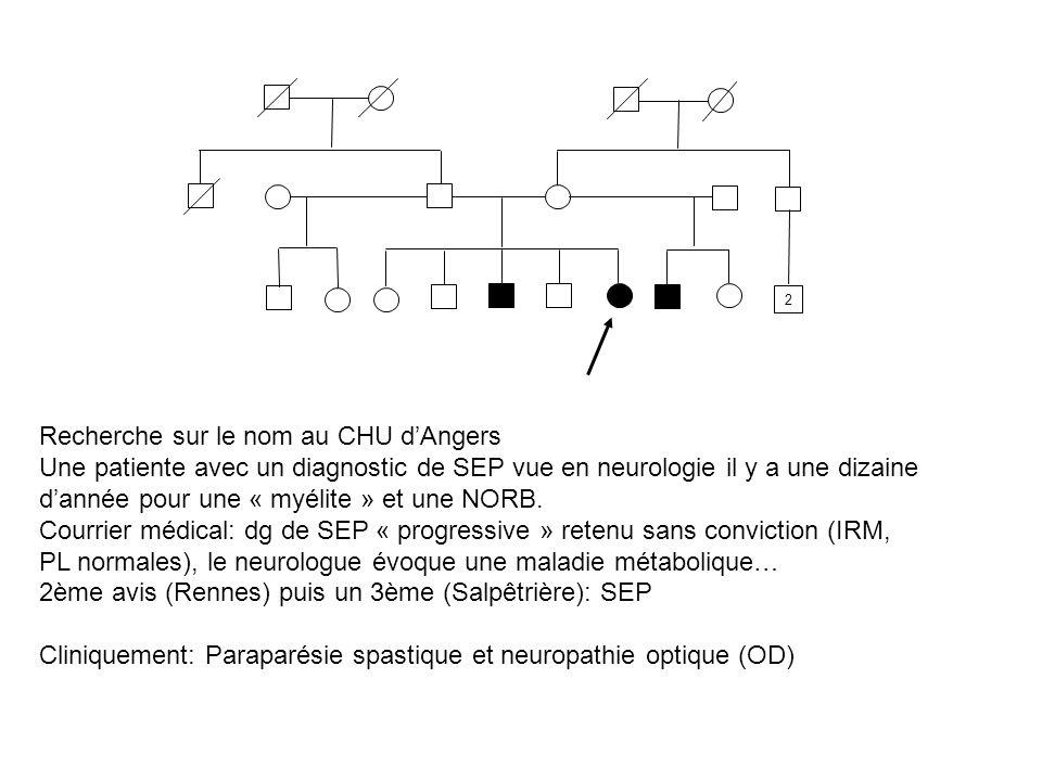 2 Recherche sur le nom au CHU dAngers Une patiente avec un diagnostic de SEP vue en neurologie il y a une dizaine dannée pour une « myélite » et une N