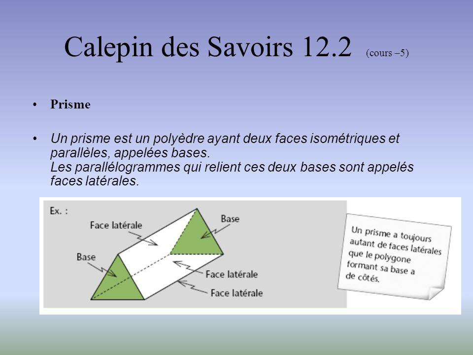 Calepin des Savoirs 12.2 (cours –5) Prisme On identifie un prisme selon la forme de sa base
