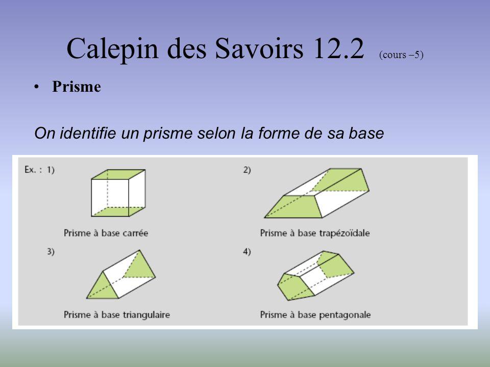 Calepin des Savoirs 12.2 (cours –5) Prisme droit Un prisme droit est un prisme dont les faces latérales sont des rectangles.