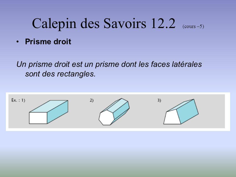 Calepin des Savoirs 12.2 (cours –5) Prisme régulier Un prisme régulier est un prisme droit dont la base est un polygone régulier.