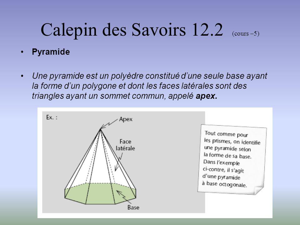 Calepin des Savoirs 12.2 (cours –5) Pyramide droite Une pyramide droite est une pyramide dont le segment abaissé depuis lapex, perpendiculairement à la base, arrive au centre du polygone formant cette base.
