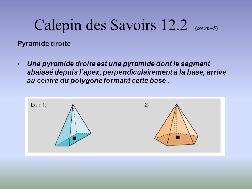 Calepin des Savoirs 12.2 (cours –5) Pyramide régulière Une pyramide régulière est une pyramide droite dont la base est un polygone régulier.