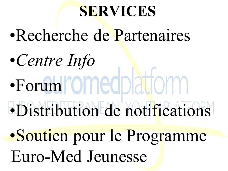 SERVICES Recherche de Partenaires Centre Info Forum Distribution de notifications Soutien pour le Programme Euro-Med Jeunesse