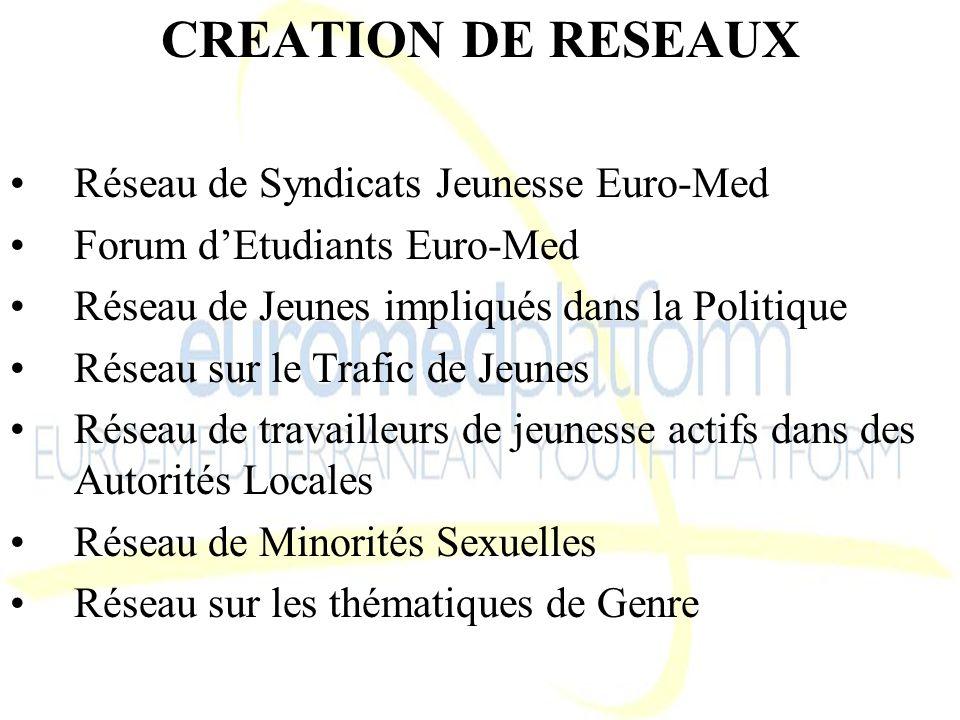 CREATION DE RESEAUX Réseau de Syndicats Jeunesse Euro-Med Forum dEtudiants Euro-Med Réseau de Jeunes impliqués dans la Politique Réseau sur le Trafic