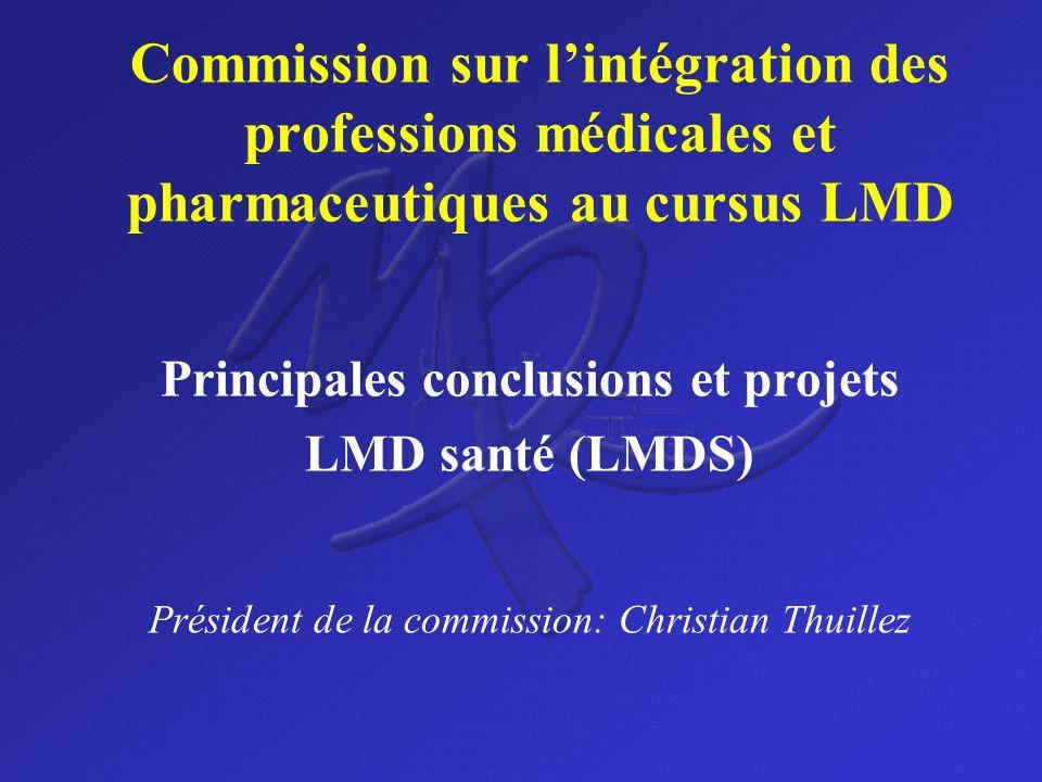 Commission sur lintégration des professions médicales et pharmaceutiques au cursus LMD Principales conclusions et projets LMD santé (LMDS) Président d
