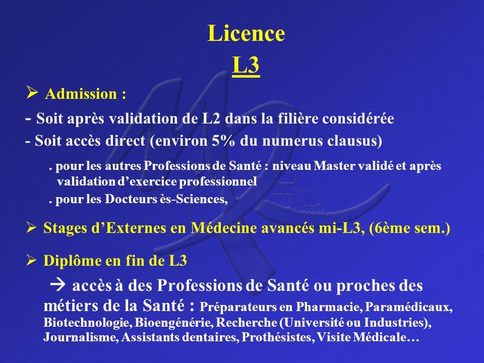 Licence L3 Admission : - Soit après validation de L2 dans la filière considérée - Soit accès direct (environ 5% du numerus clausus). pour les autres P