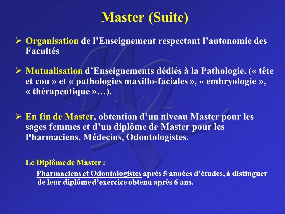 Master (Suite) Organisation de lEnseignement respectant lautonomie des Facultés Mutualisation dEnseignements dédiés à la Pathologie. (« tête et cou »