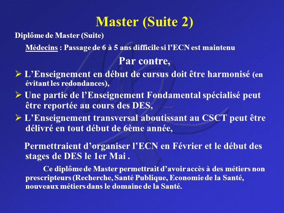 Master (Suite 2) Diplôme de Master (Suite) Médecins : Passage de 6 à 5 ans difficile si lECN est maintenu Par contre, LEnseignement en début de cursus