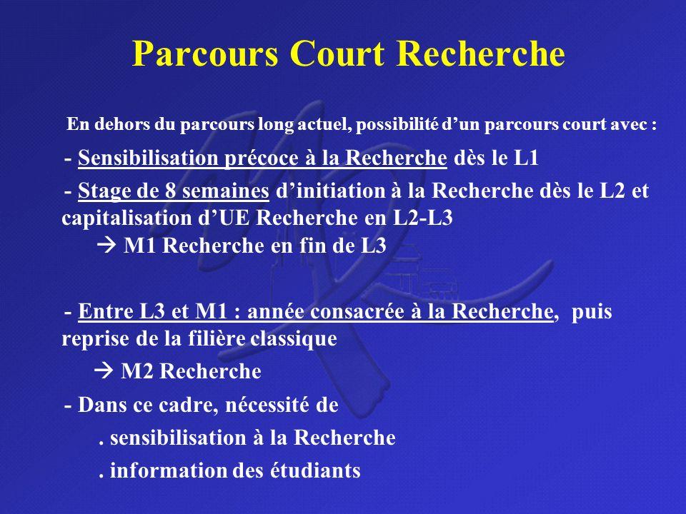Parcours Court Recherche En dehors du parcours long actuel, possibilité dun parcours court avec : - Sensibilisation précoce à la Recherche dès le L1 -
