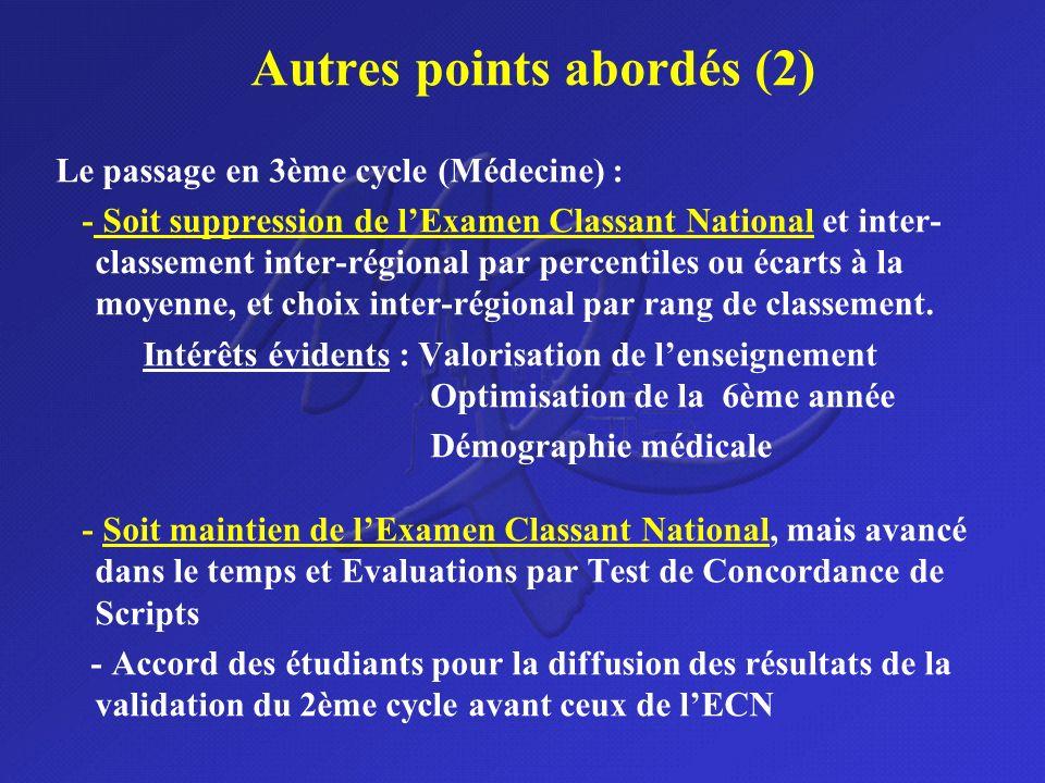 Autres points abordés (2) Le passage en 3ème cycle (Médecine) : - Soit suppression de lExamen Classant National et inter- classement inter-régional pa