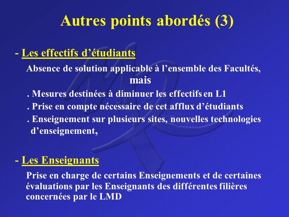 Autres points abordés (3) - Les effectifs détudiants Absence de solution applicable à lensemble des Facultés, mais. Mesures destinées à diminuer les e