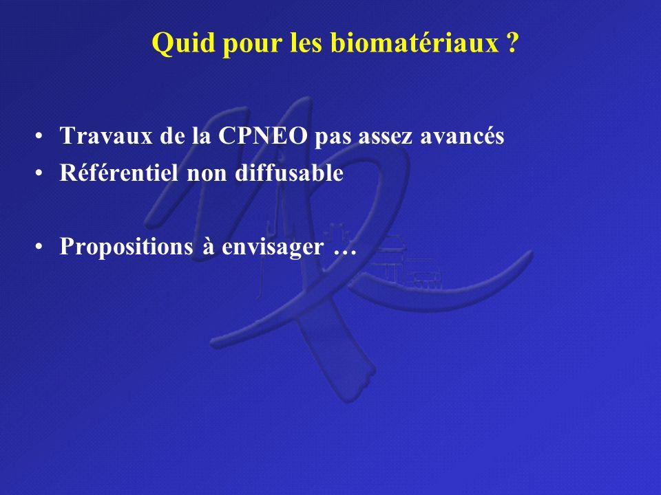 Quid pour les biomatériaux ? Travaux de la CPNEO pas assez avancés Référentiel non diffusable Propositions à envisager …