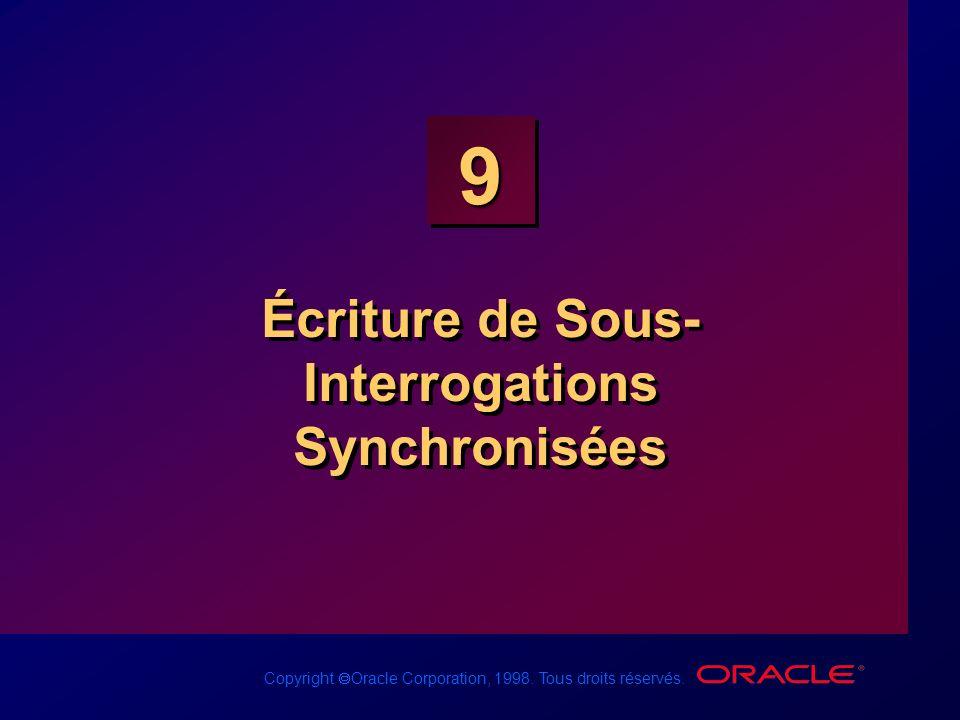 Copyright Oracle Corporation, 1998. Tous droits réservés. 9 Écriture de Sous- Interrogations Synchronisées