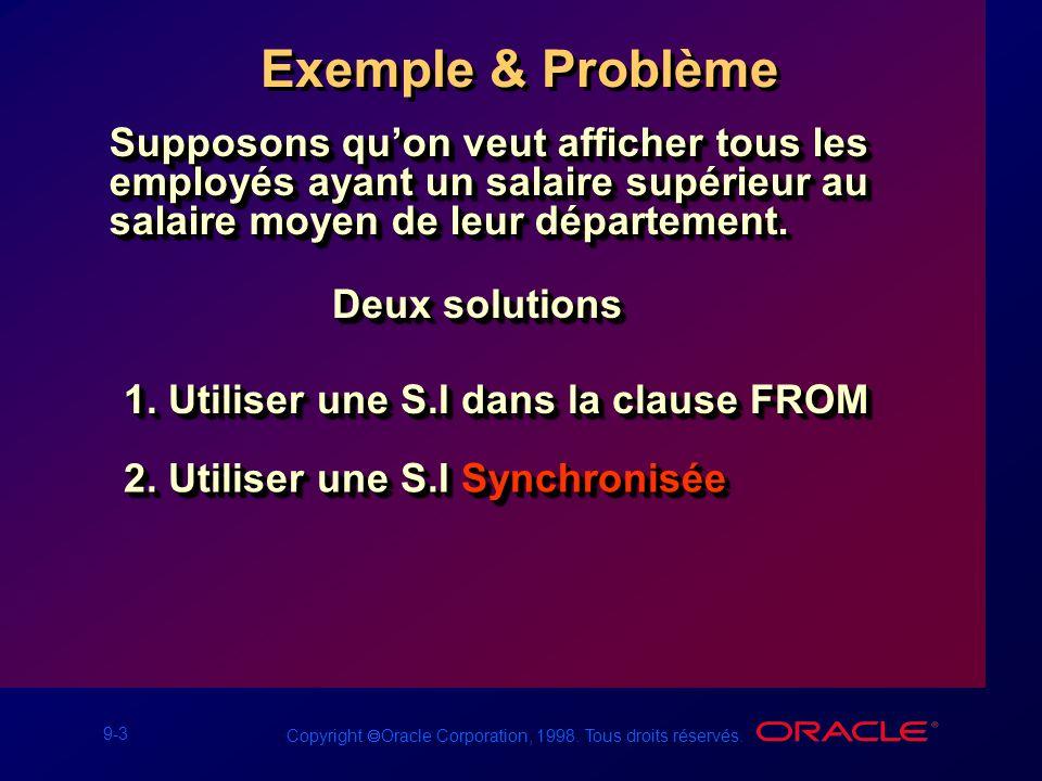 9-3 Copyright Oracle Corporation, 1998. Tous droits réservés. Exemple & Problème Supposons quon veut afficher tous les employés ayant un salaire supér