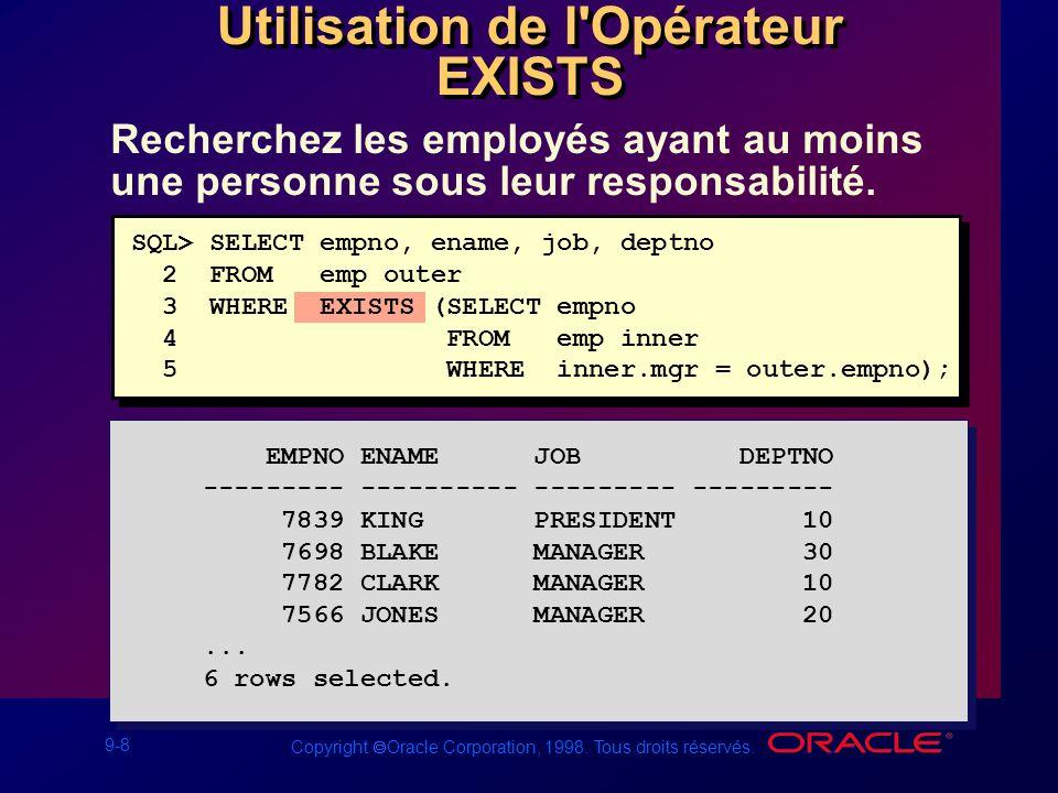 9-8 Copyright Oracle Corporation, 1998. Tous droits réservés. Recherchez les employés ayant au moins une personne sous leur responsabilité. Utilisatio