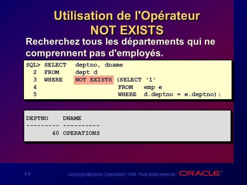 9-9 Copyright Oracle Corporation, 1998. Tous droits réservés. Recherchez tous les départements qui ne comprennent pas d'employés. Utilisation de l'Opé