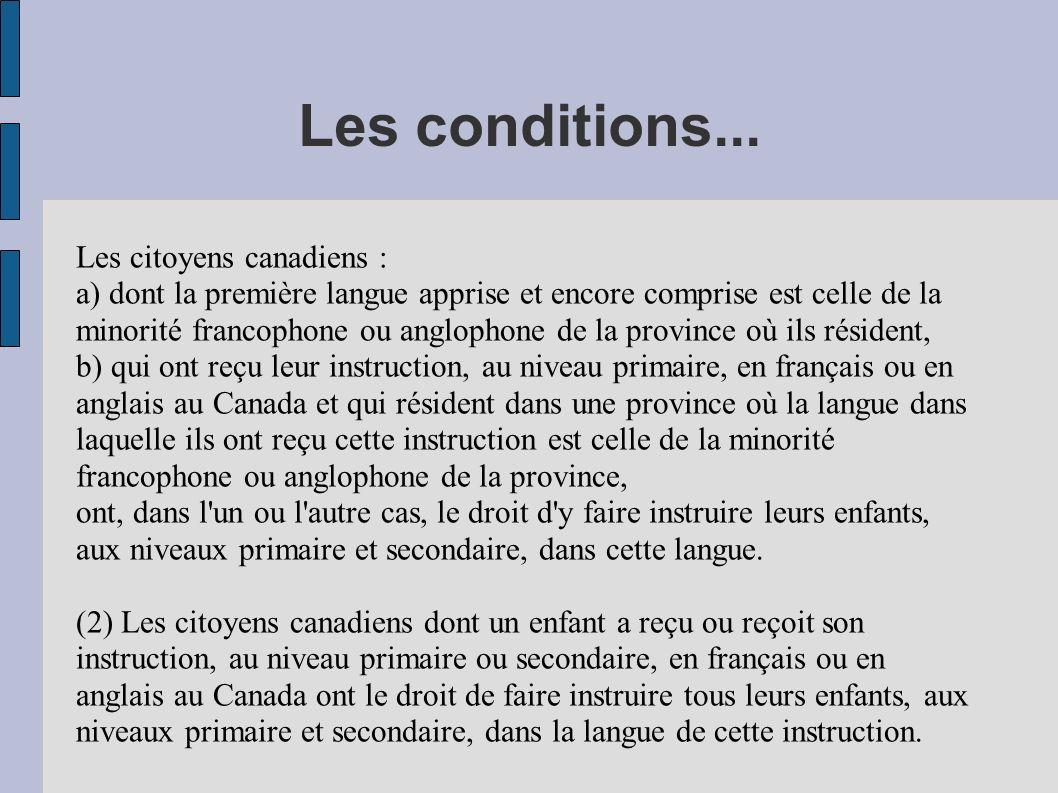 Les conditions... Les citoyens canadiens : a) dont la première langue apprise et encore comprise est celle de la minorité francophone ou anglophone de