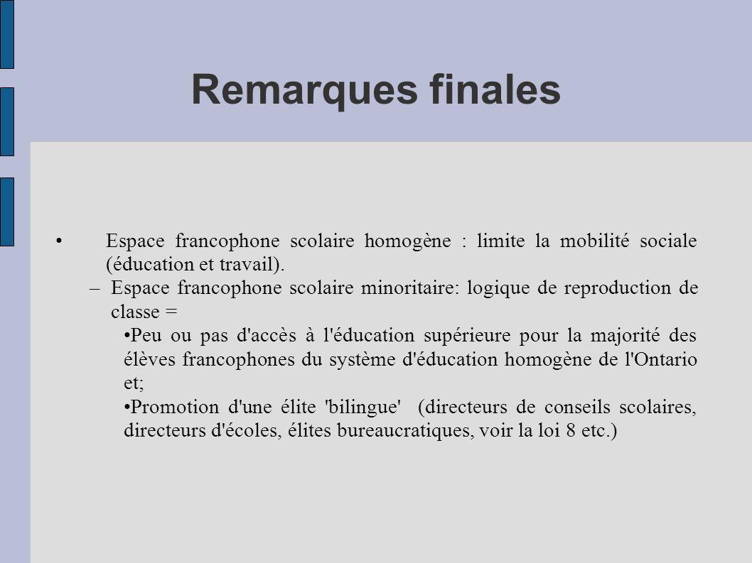 Remarques finales Espace francophone scolaire homogène : limite la mobilité sociale (éducation et travail).